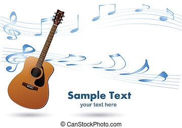 chitarra, acustico, musica, fondo