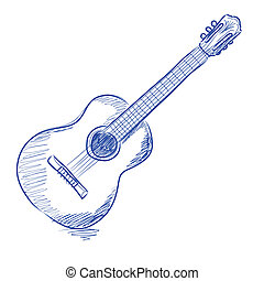 chitarra, acustico, sketched