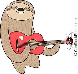 chitarra, bradipo, cartone animato, gioco