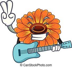 chitarra, calendula, mascotte, gambo fiore