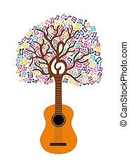 chitarra, concetto, albero, illustrazione, nota, musica