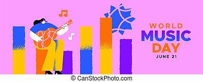 chitarra gioca, bandiera, musica, giorno, musicista, ragazza