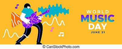 chitarra gioca, bandiera, roccia, uomo, musica, giorno, musicista