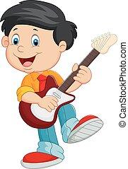 chitarra, gioco, cartone animato, bambino