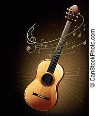 chitarra, marrone, note, musicale