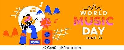 chitarra, mondo, gioco, bandiera, musica, giorno, divertimento, ragazza