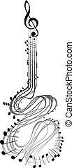 chitarra, note, musica