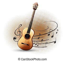 chitarra, note, musicale, fondo