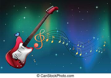 chitarra, note, musicale, rosso