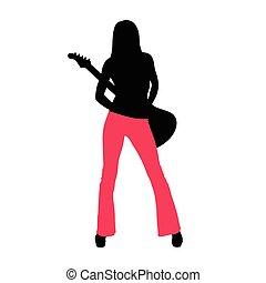 chitarra, ragazza, silhouette, illustrazione