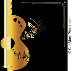chitarra, sfondo dorato