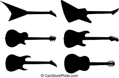 chitarra, silhouette