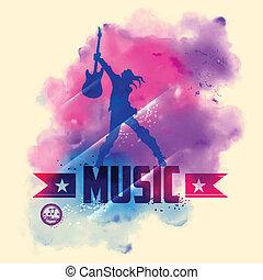 chitarra, stella, musicale, fondo, roccia