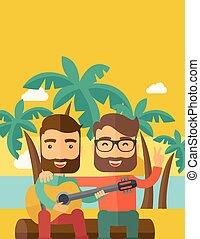 chitarra, uomini, spiaggia, due, gioco