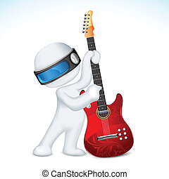 chitarra, vettore, uomo, 3d