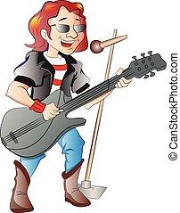 chitarrista, cantante, illustrazione