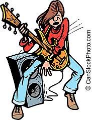 chitarrista, giovane, roccia