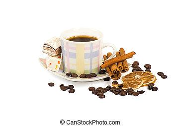 chiudere, caffè, saporito, su