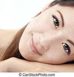 chiudere, donna, asiatico, su, faccia