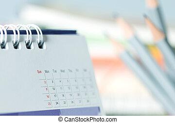 chiudere, tavola, calendario, su, pagina