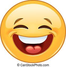 chiuso, emoticon, occhi, ridere