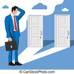 chiuso, standing, doors., due, uomo affari, fronte