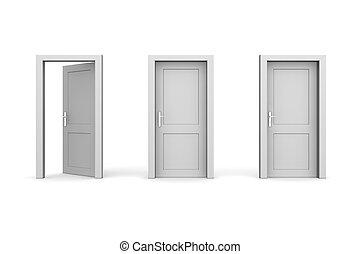 chiuso, -, tre, grigio, due, porte, uno, aperto, sinistra