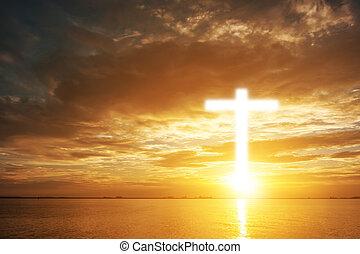 christian., nubi, credenza, dio, sopra, freedom., cielo, croce, o, simbolo, religione, forma, legno, god., fondo, concettuale, risurrezione, tramonto, adorare