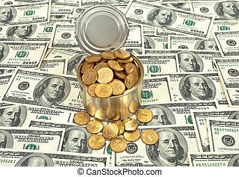 ci, russo, fondo, banconote, monete, sopra, lattina