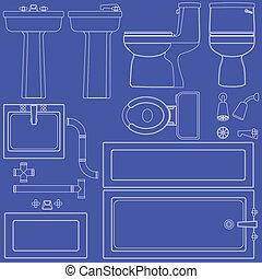 cianografia, bagno, dispositivi per fissaggio e serraggio