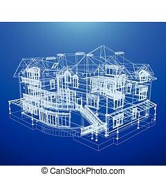 cianografia, casa, architettura