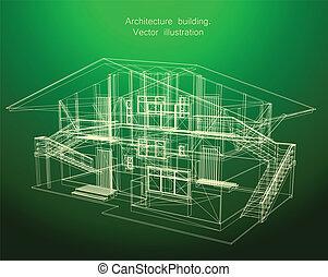 cianografia, casa, verde, architettura