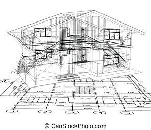 cianografia, vettore, house., architettura