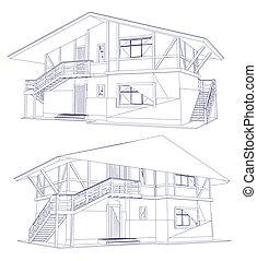 cianografia, vettore, house., due, architettura