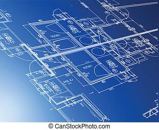 cianografie, architettonico, campione