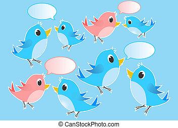 ciarlare, illustrazione, -, uccelli