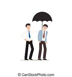 ciascuno, amico, affari, white., isolato, carattere, altro., appartamento, illustrazione, cartone animato, disegno, porzione, umbrella., concetto, uomo, dare