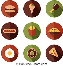 cibo, appartamento, icone
