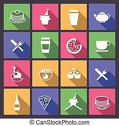 cibo, appartamento, set, bevanda, icone