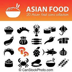 cibo, asiatico, icone