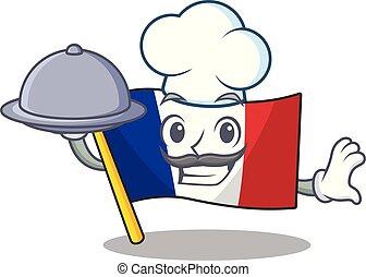 cibo, bandiera, francia, chef, forma, cartone animato