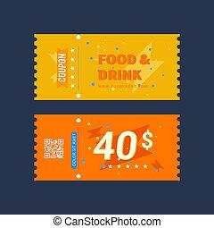 cibo, bevanda, biglietto, disegno, buono, vettore, grafica, illustrazione