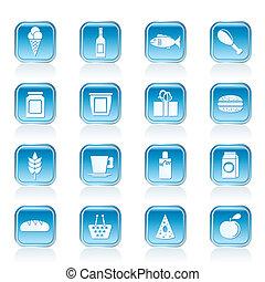 cibo, bevanda, negozio, icone