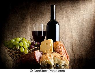 cibo, bottiglia, vino