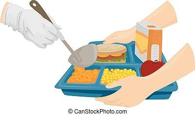 cibo, cafeteria, servire