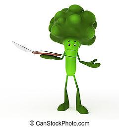 cibo, carattere, -, broccolo