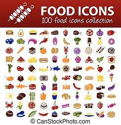 cibo, cento, icone