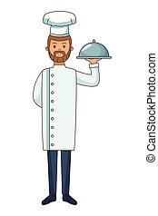 cibo, chef, cartone animato