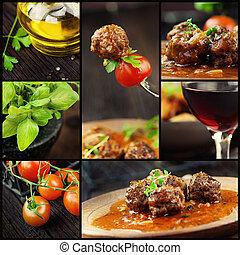 cibo, collage, palle, -, carne