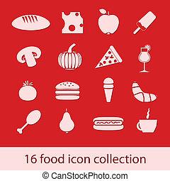 cibo, collezione, icone